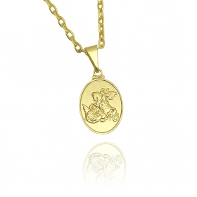 Pingente São Jorge Oval P Texturizado (1,9cmX1,3cm) (Banho Ouro 24k)