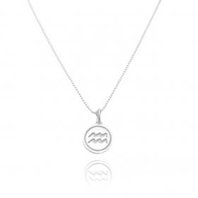 Pingente Signo Aquario (1,4cmX1,2cm) (Prata 925 Maciça)
