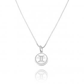 Pingente Signo Gêmeos (1,4cmX1,2cm) (Prata 925 Maciça)