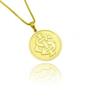 Pingente Time (10) (2,4cmX2,2cm) (Banho Ouro 24k)