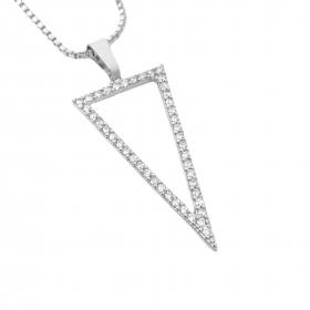 Pingente Triângulo Invertido Cravejado em Zircônia (Banho Prata 925)