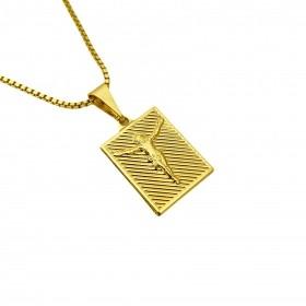 Pingente Placa De Cristo Texturizado (1,9cmX1,4cm) (Banho Ouro 24k)