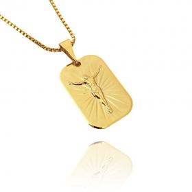 Placa De Cristo (2,1cmX1,5cm) (Banho Ouro 24k)
