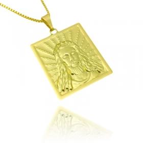 Placa Rosto De Cristo (3cmX2,2cm) (Banho Ouro 24k)