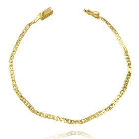 Pulseira Piastrine 2,5mm (Fecho Gaveta) (Banho Ouro 24k)