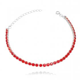 Pulseira Riviera 3mm (Pedras de Zircônia Vermelha) (Fecho Tradicional) (Banho Prata 925)