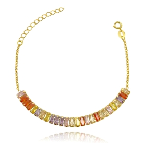 Pulseira Riviera Baguete Colors 6mm (Pedras de Zircônia ) (Banho Ouro 24k)