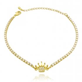 Pulseira Riviera com Coroa Cravejada em Zircônia (Banho Ouro 24k)