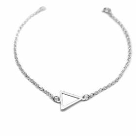Pulseira Triângulo Elo Português (Prata 925 Italiana)