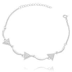 Pulseira Triângulos Cravejados em Zircônia (Banho Prata 925)