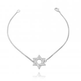 Pulseira Veneziana Estrela de Salomão Cravejada em Zircônia (Banho Prata 925)