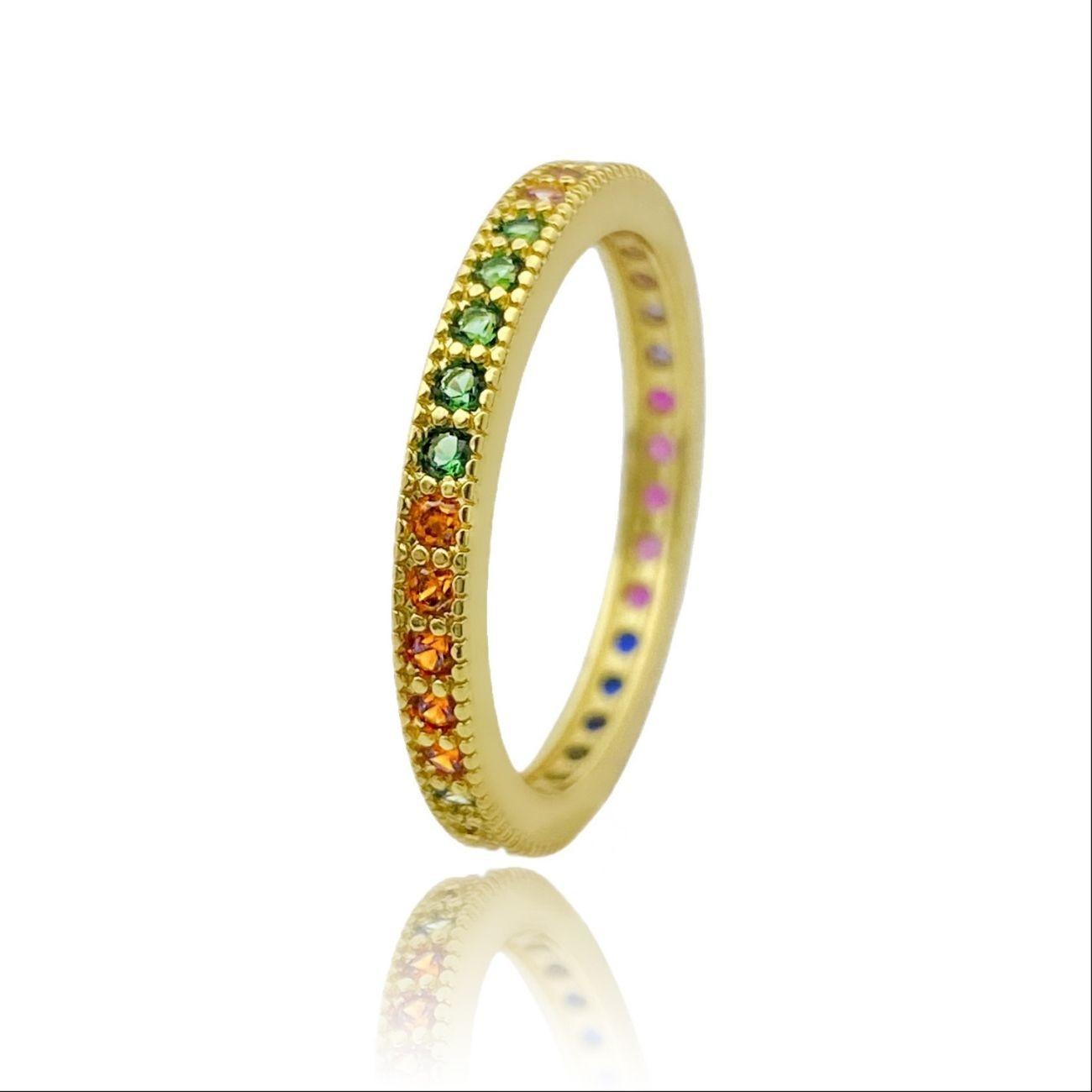 Anel Aparador Tradicional Colors 1 Fileira de Zircônia (Banho Ouro 24k)