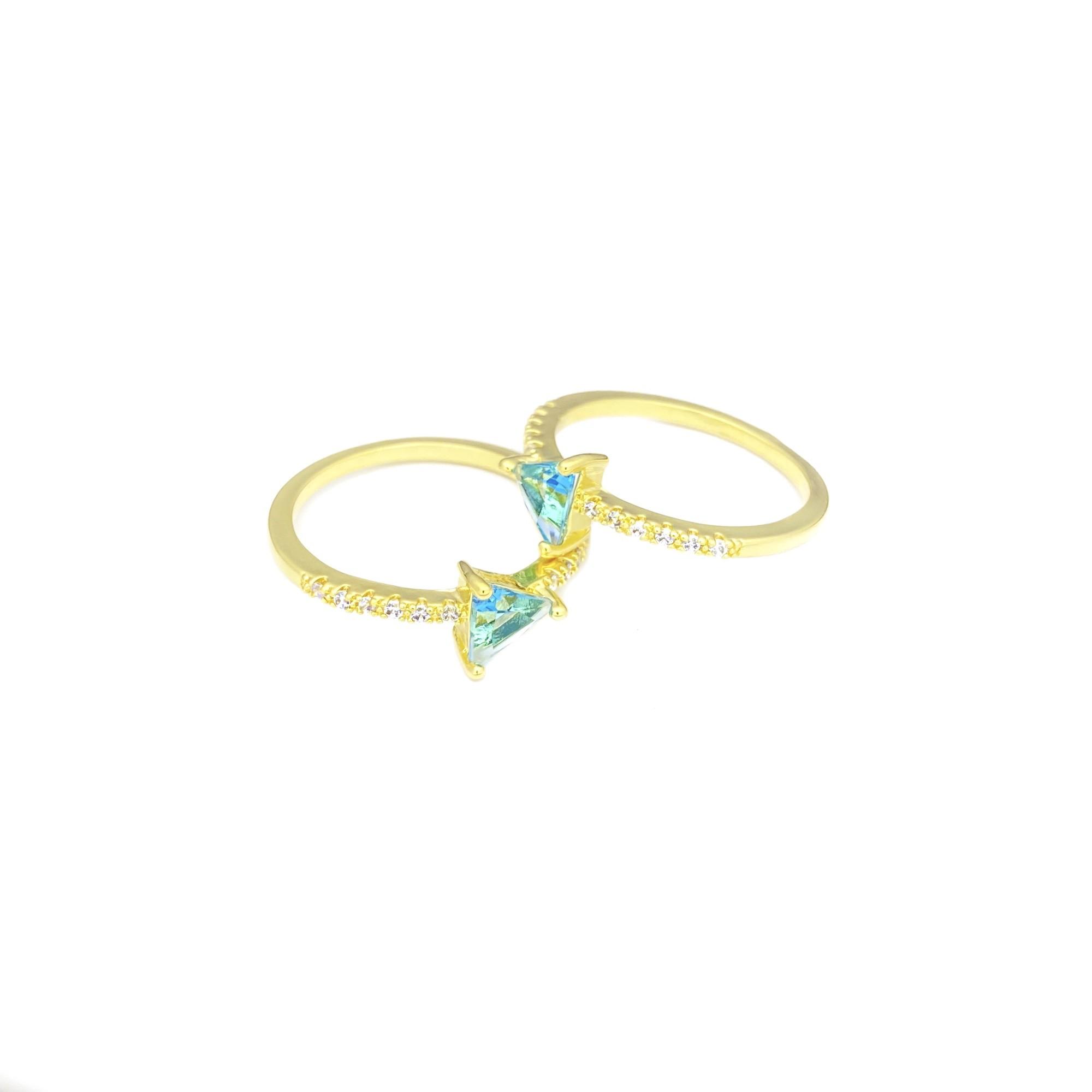 Anel Aquamarine Pedras De Zircônia (Banho Ouro 24k)
