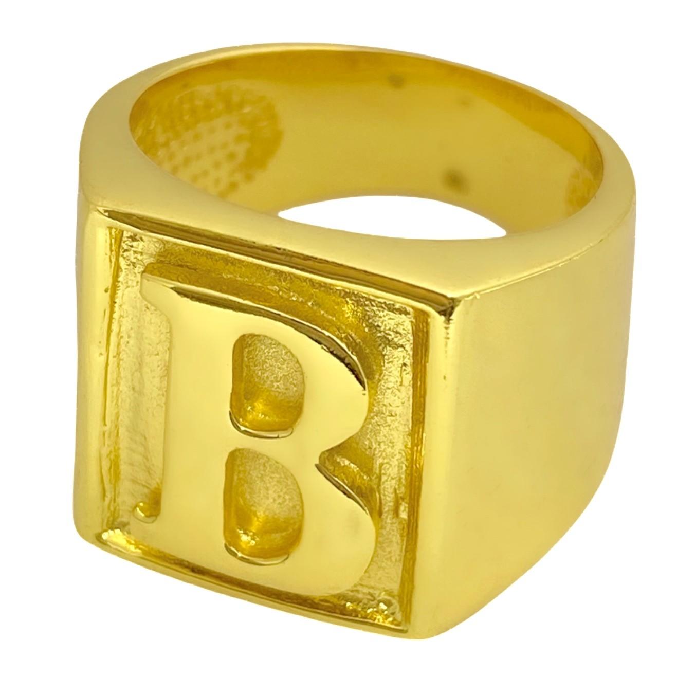 Anel com letra B 10g (Banho Ouro 24K)
