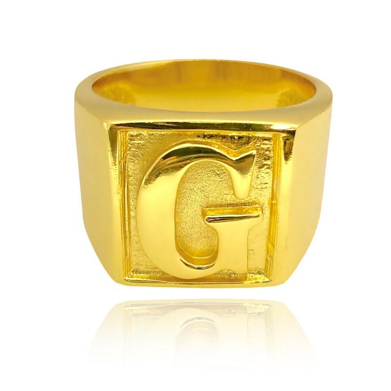 Anel com letra G (12,6g) (Banho Ouro 24K)