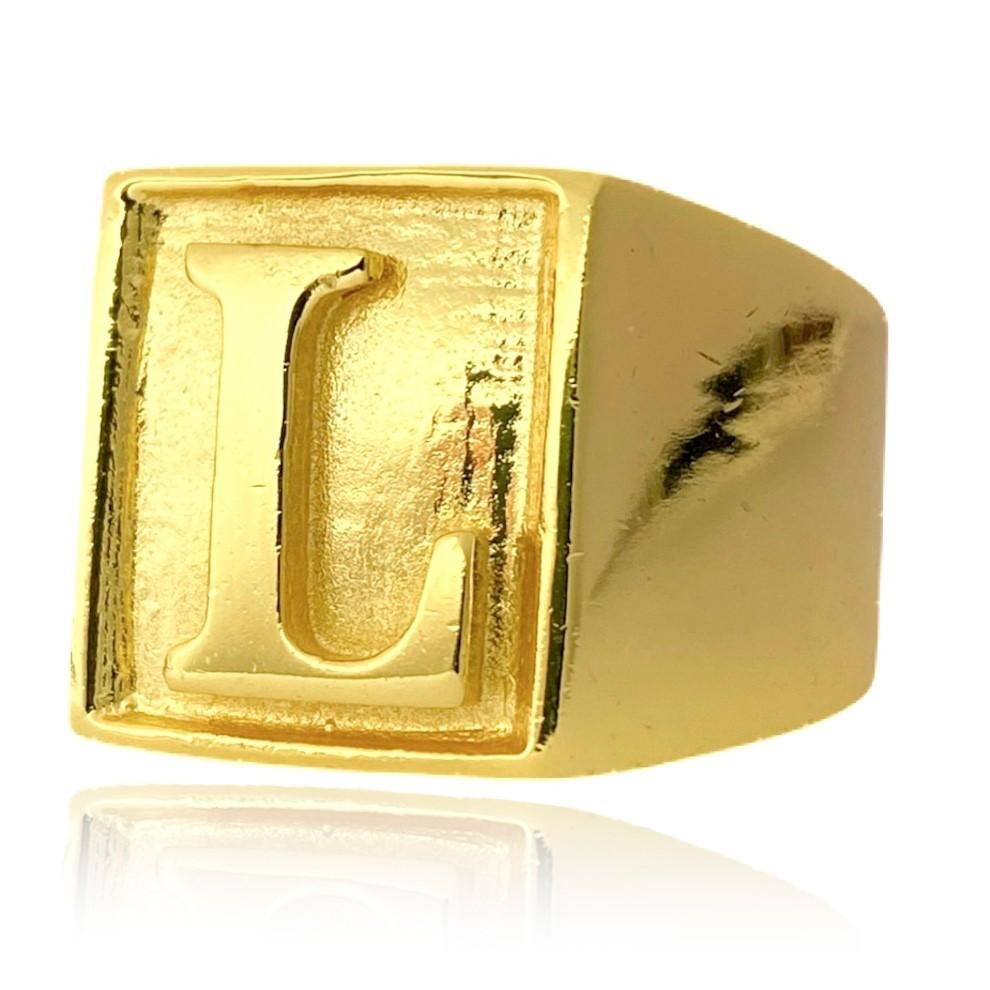 Anel com letra L 10g (Banho Ouro 24K)
