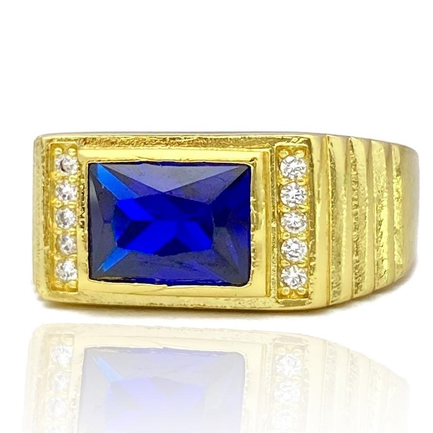 Anel Cravado com Pedra de Zircônia Azul (Banho Ouro 24k)
