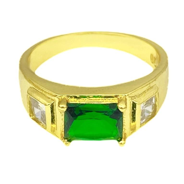 Anel Cravejado com Pedra de Zircônia Verde central e 2 Brancas Laterais 5g (Banho Ouro 24k)