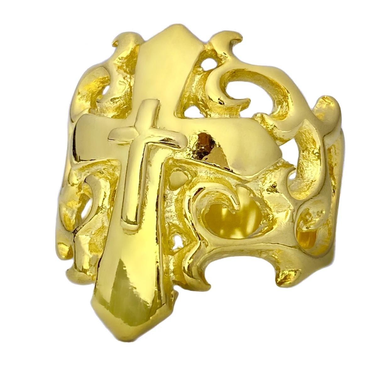 Anel Cruz Texturizada Relevo 9,5g (Banho Ouro 24k)