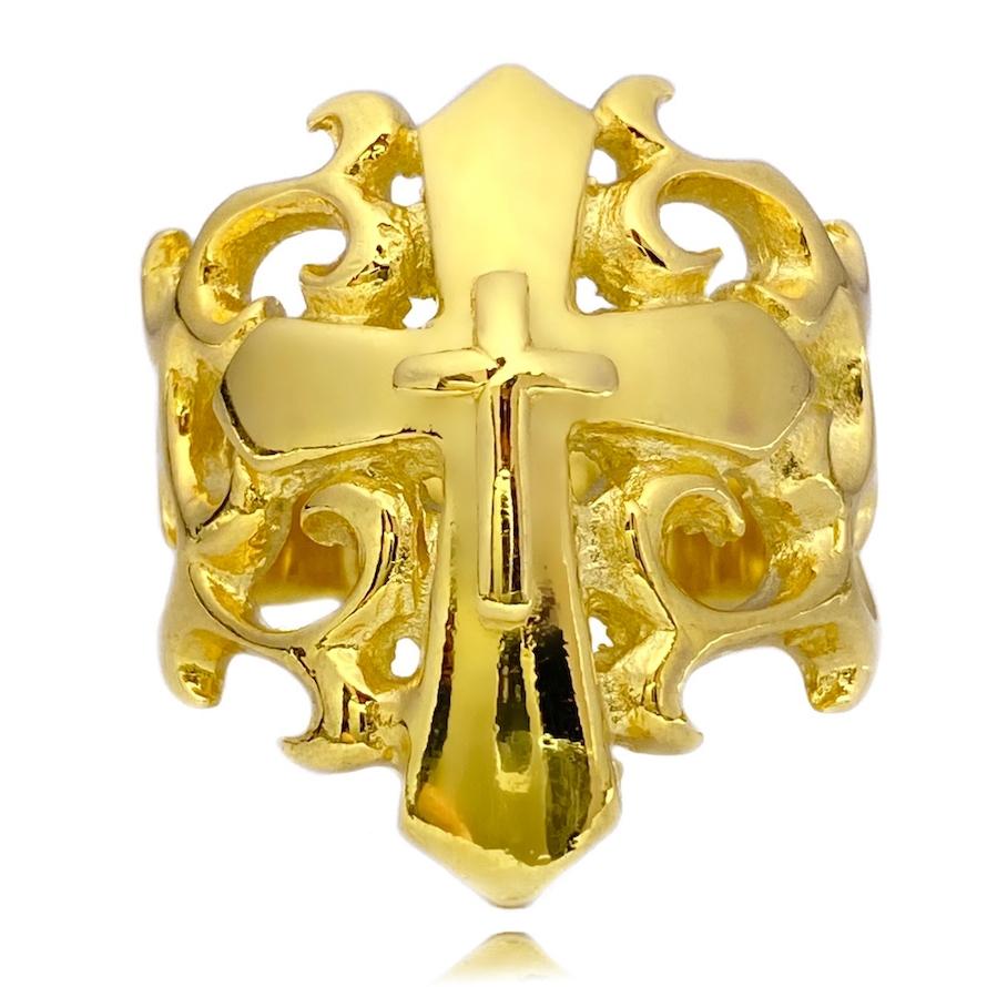 Anel Cruz Texturizada Relevo (8,6g) (Banho Ouro 24k)