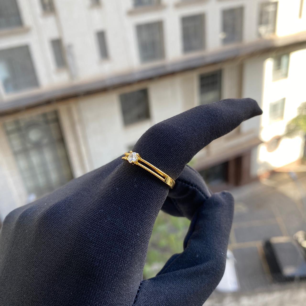 Anel Duas Fileiras Vazado Cravejado em Zircônia (Banho Ouro 24k)