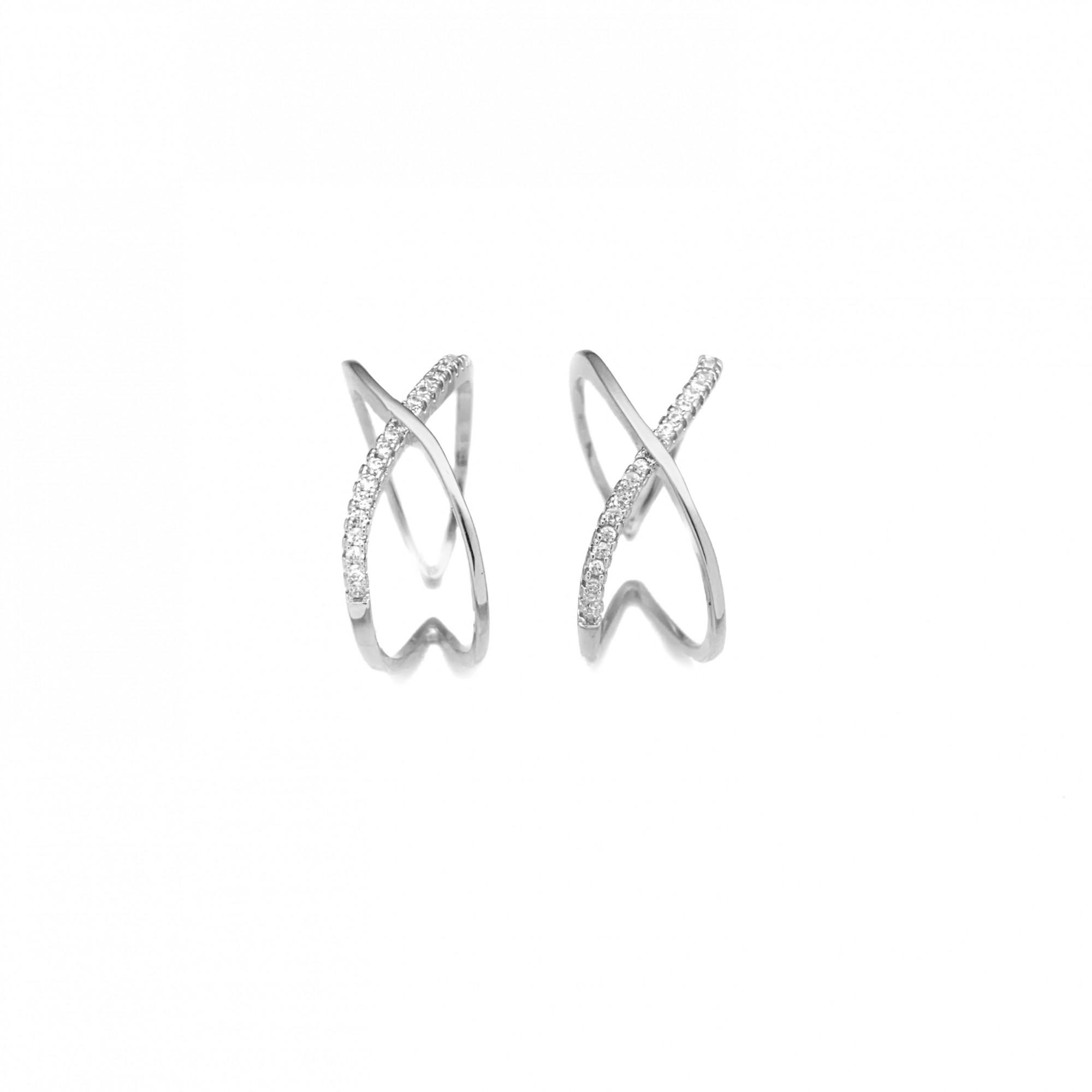 Anel Duplo em X Cravejado em Zircônia (Ajustável) (Banho Prata 925)*