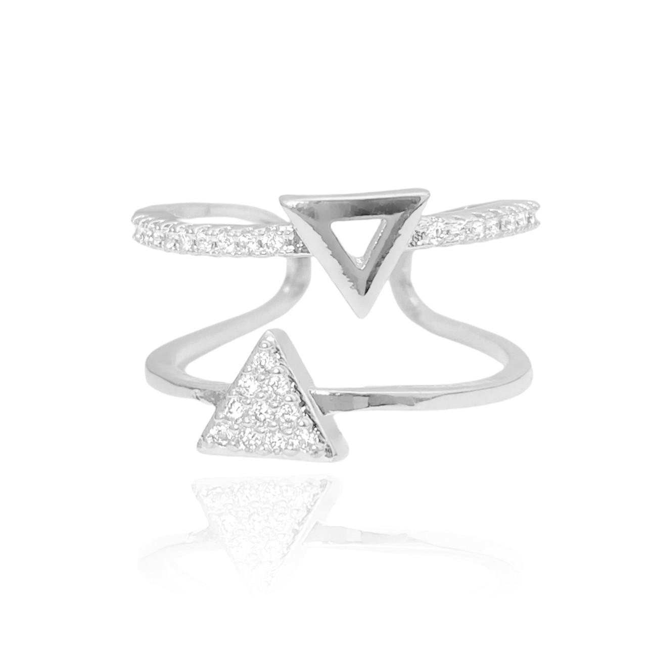 Anel Duplo Triângulo Cravejado em Zircônia (Ajustável) (Banho Prata 925)