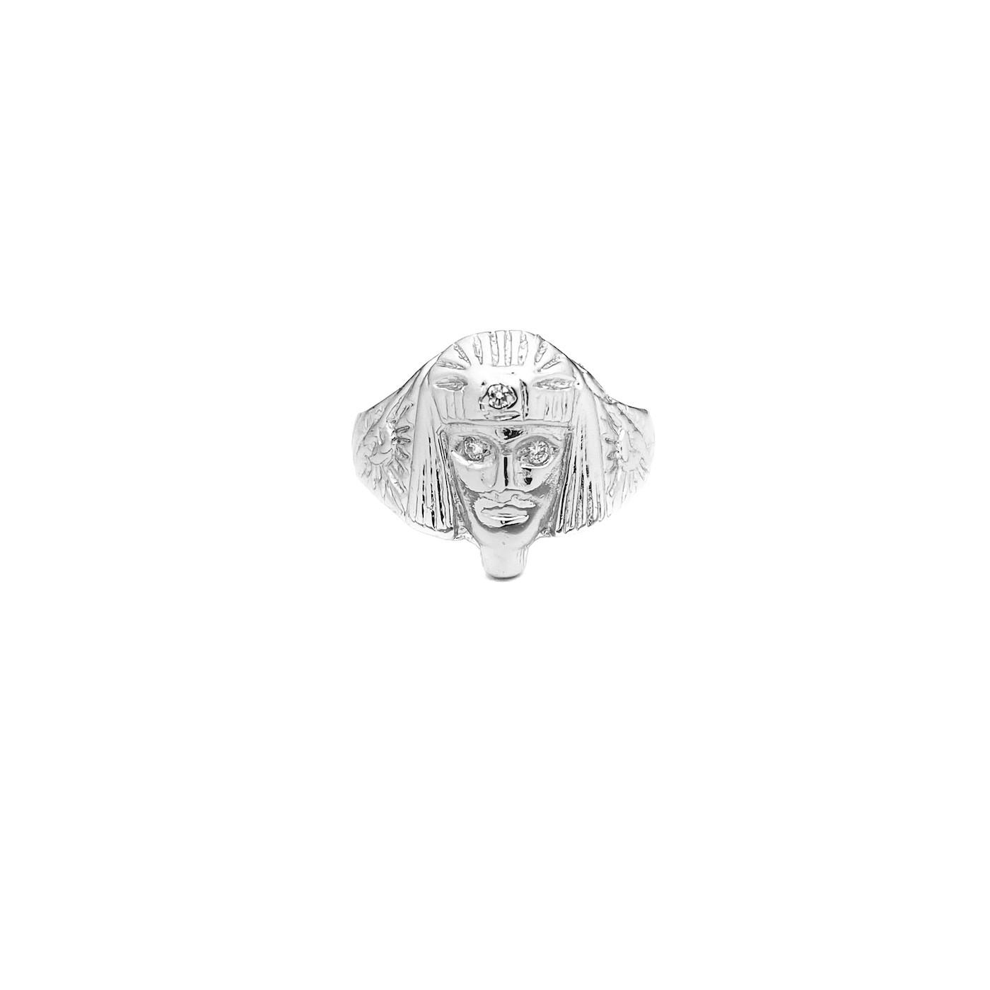 Anel Faraó com Olhos de Zircônia 4g (Banho De Prata 925)