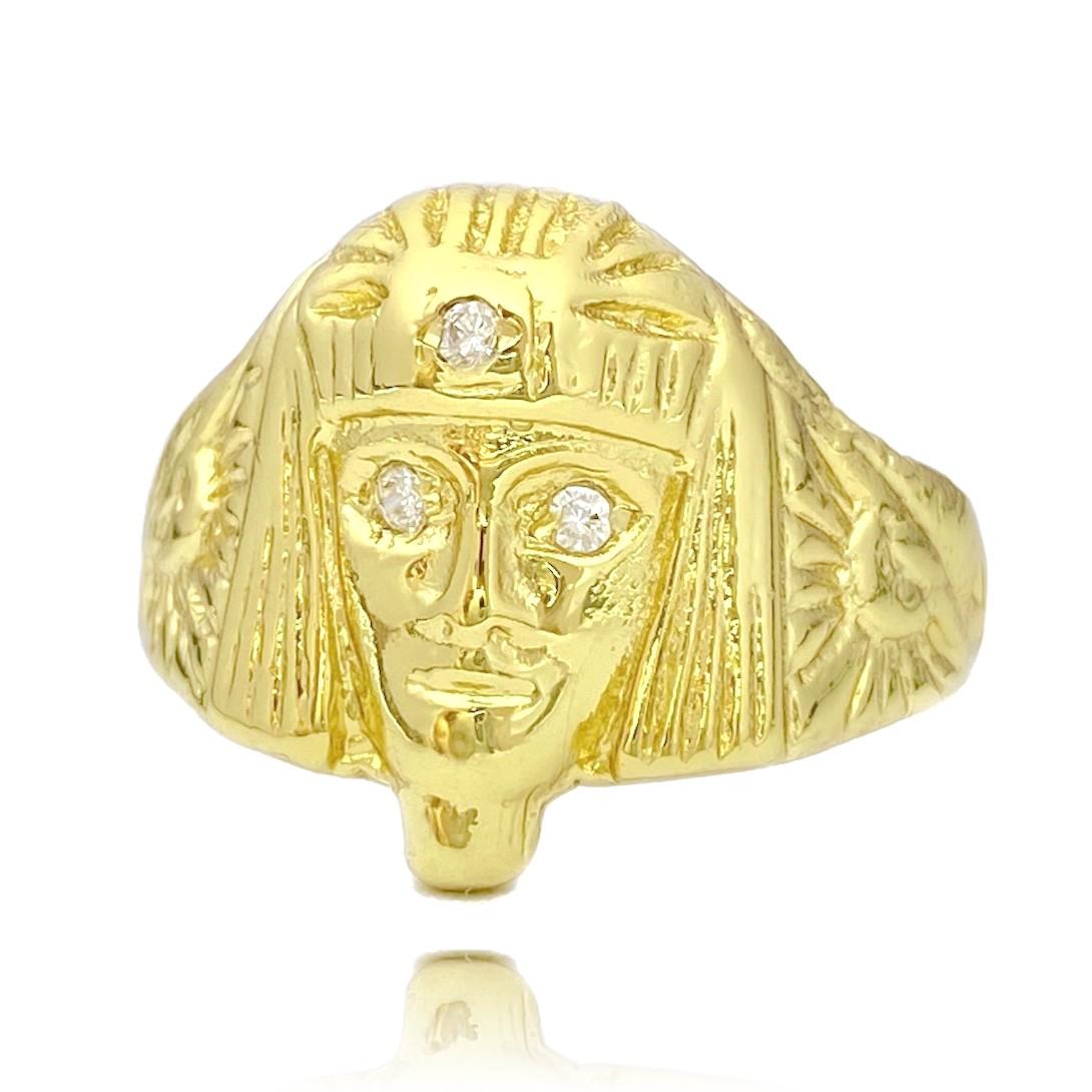 Anel Faraó com Olhos de Zircônia 7g (Banho Ouro 24k)