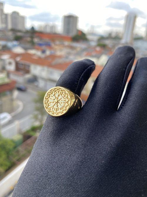 Anel GDO Bússola Viking 8g (Banho Ouro 24k)