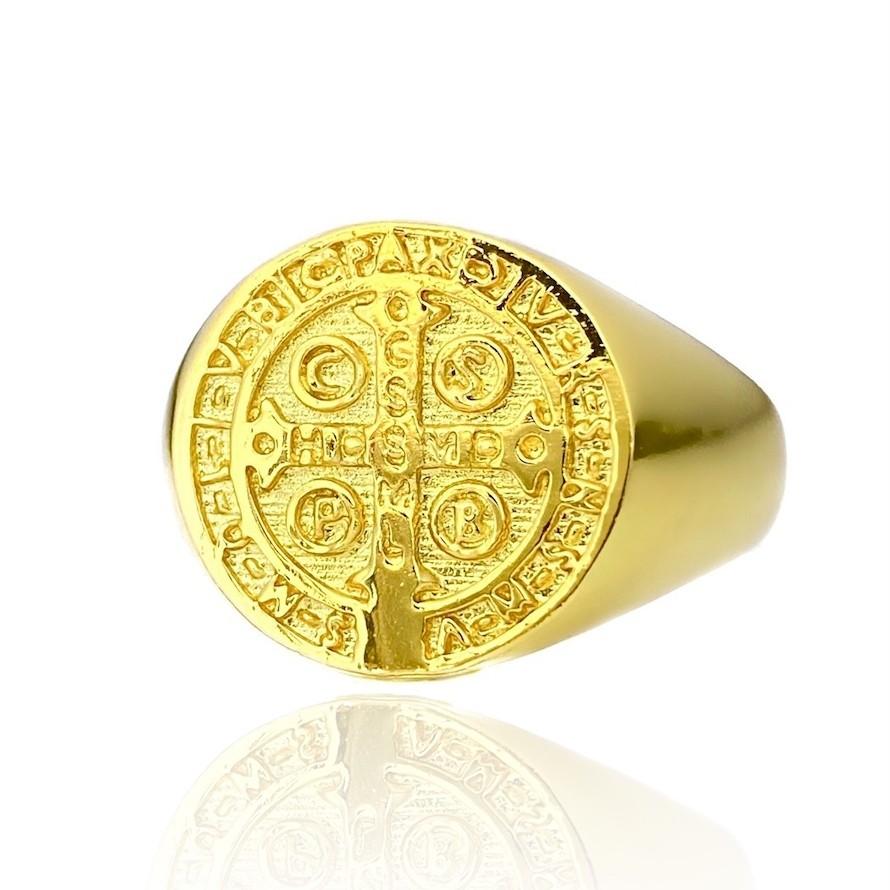 Anel Medalha de São Bento (Banho Ouro 24k)