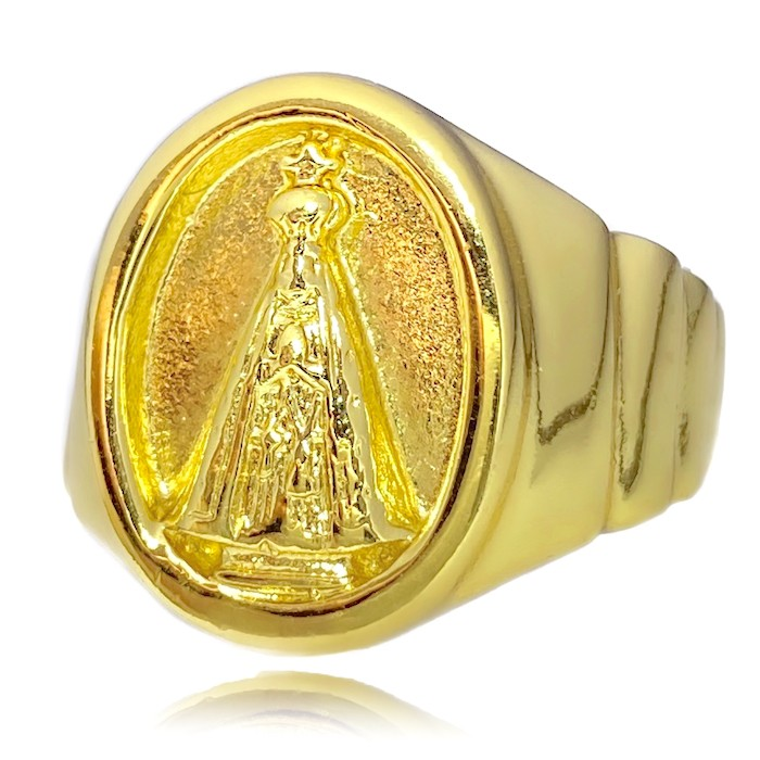 Anel Nossa Senhora Aparecida (8g) (Banho Ouro 24k)