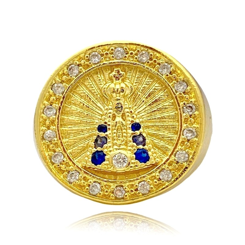Anel Nossa Senhora Aparecida com Pedras de Zircônia Azuis e Brancas (7,8g) (Banho Ouro 24k)