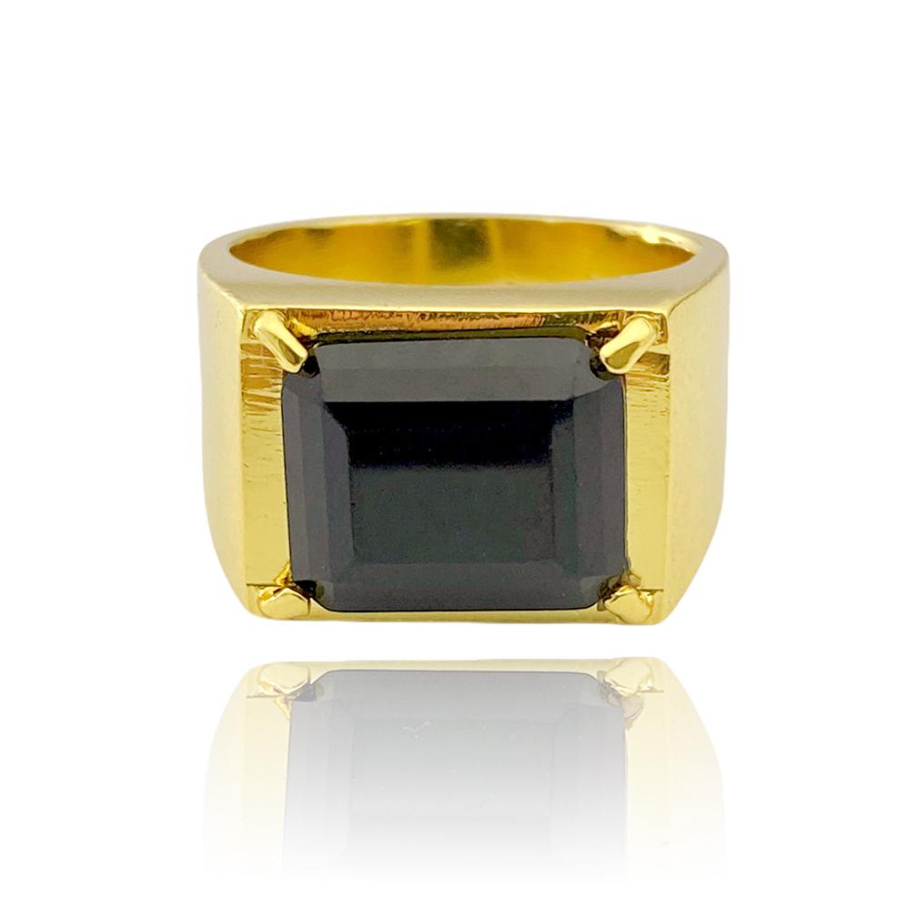 Anel Placa Pedra de Onix (9g) (Banho Ouro 24k)