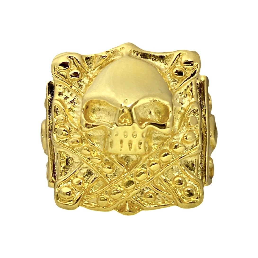 Anel Quadrado Skull 16,2g  (Banho Ouro 24k)
