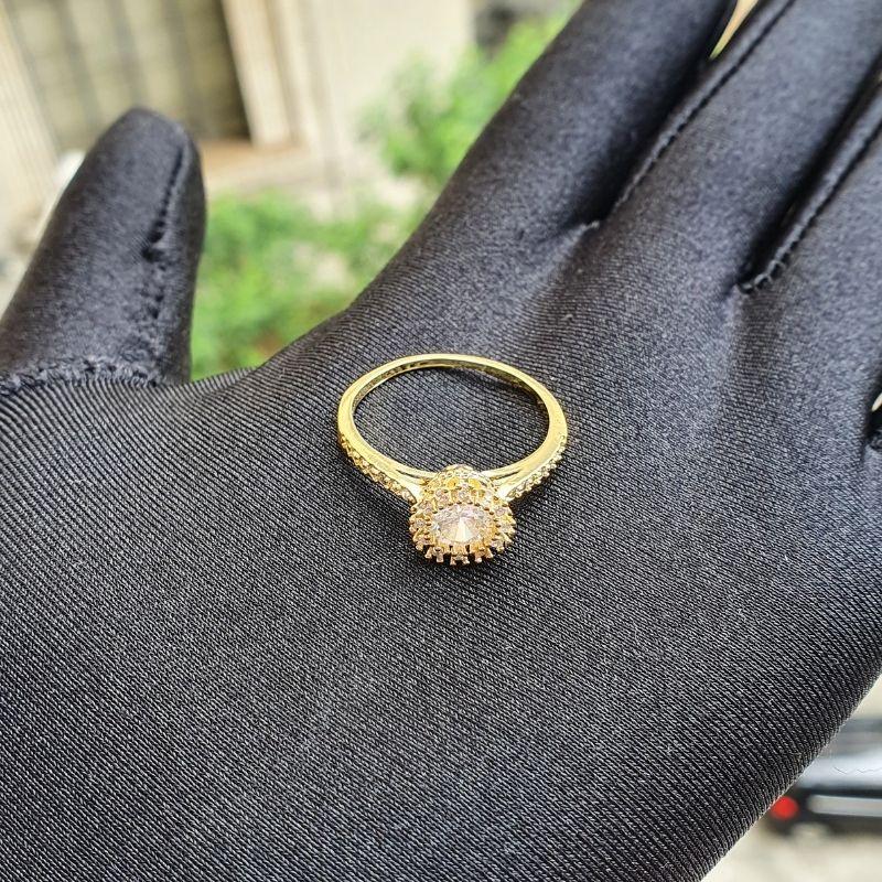 Anel Solitário Coroa Cravejado em Zircônia (Banho Ouro 24k)