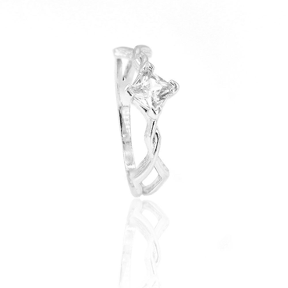 Anel Trançado Cravejado com Pedra de Zircônia (Banho Prata 925)