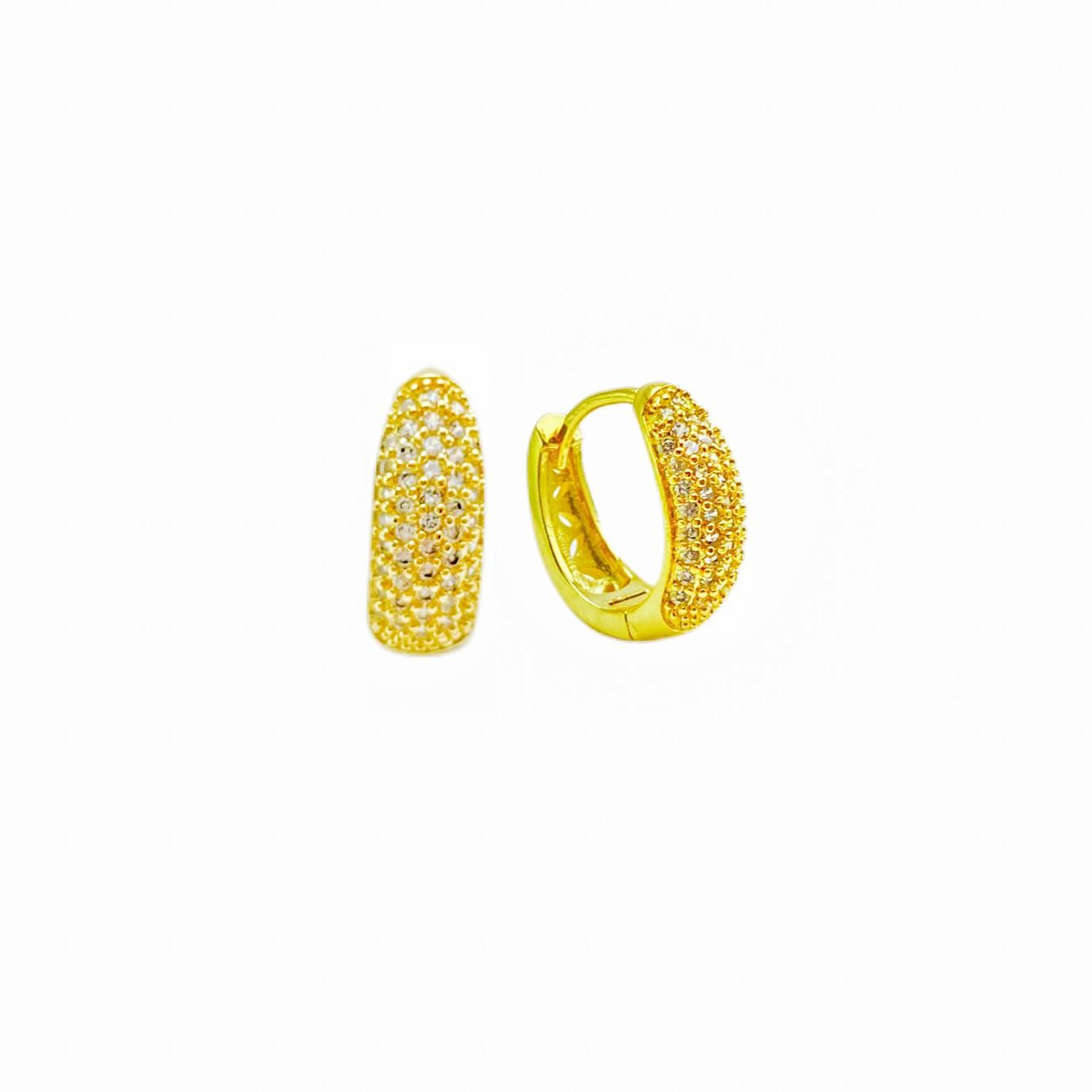 Argola Cravejada 47 pedras de Zircônia (Banho Ouro 24k)