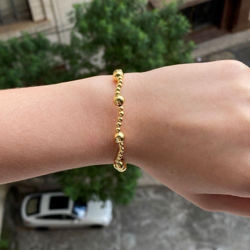 Bracelete 9 Esferas (Banho Ouro 24k)