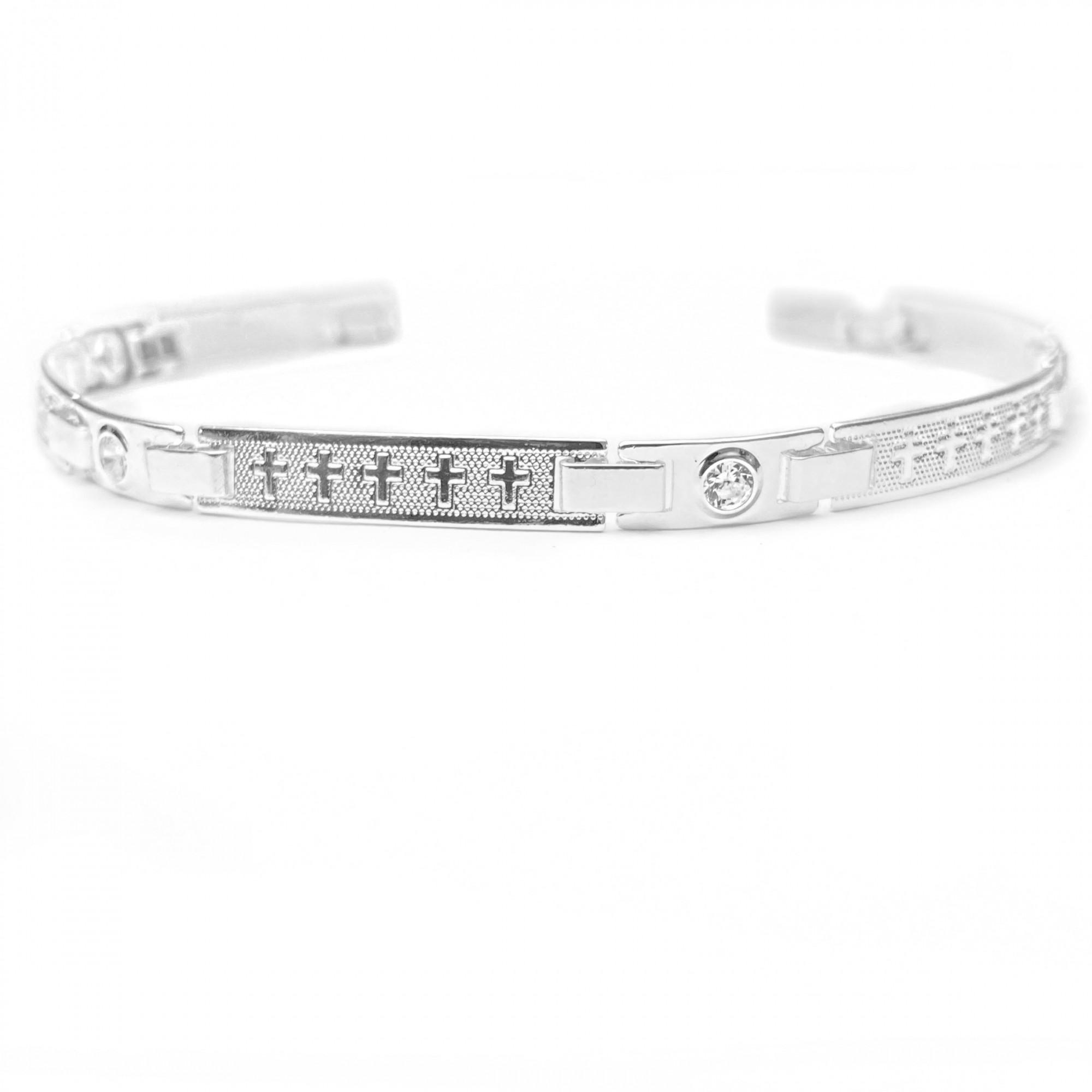Bracelete Com Cruz e Pedra Branca de Zirônia 5mm (Banho Prata 925)