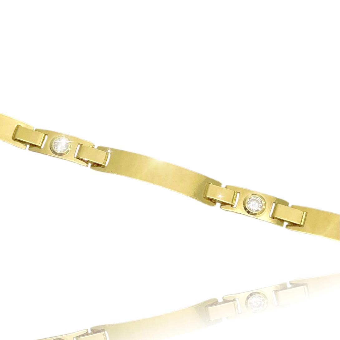 Bracelete Liso c/ Pedra Branca de Zircônia 5mm (Banho Ouro 24k)