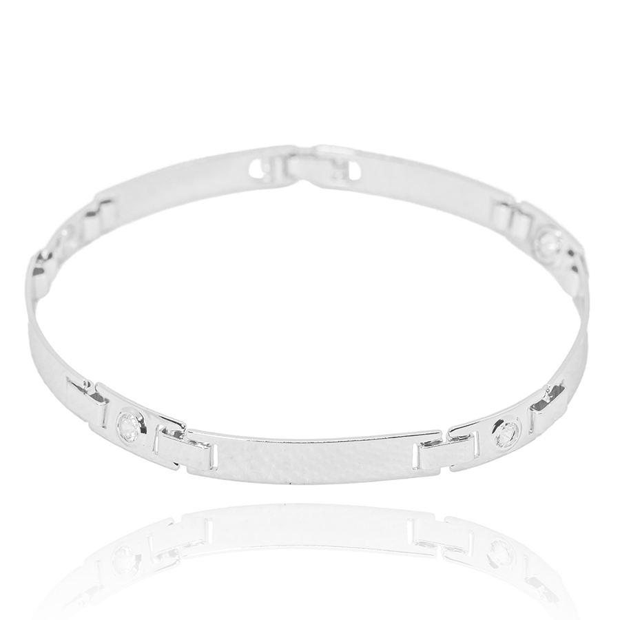 Bracelete Liso c/ Pedra Branca de Zirônia 5mm (Banho Prata 925)