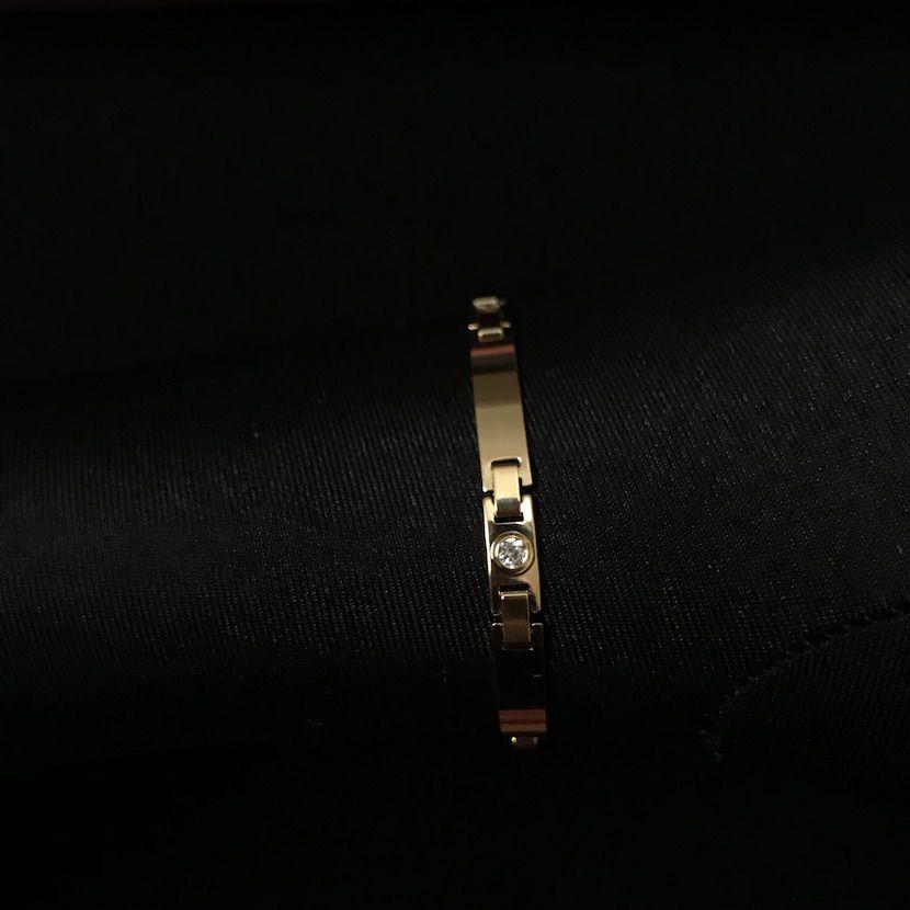 Bracelete Liso e Pedra Branca de Zircônia 5mm 6g (Banho Ouro 24k)