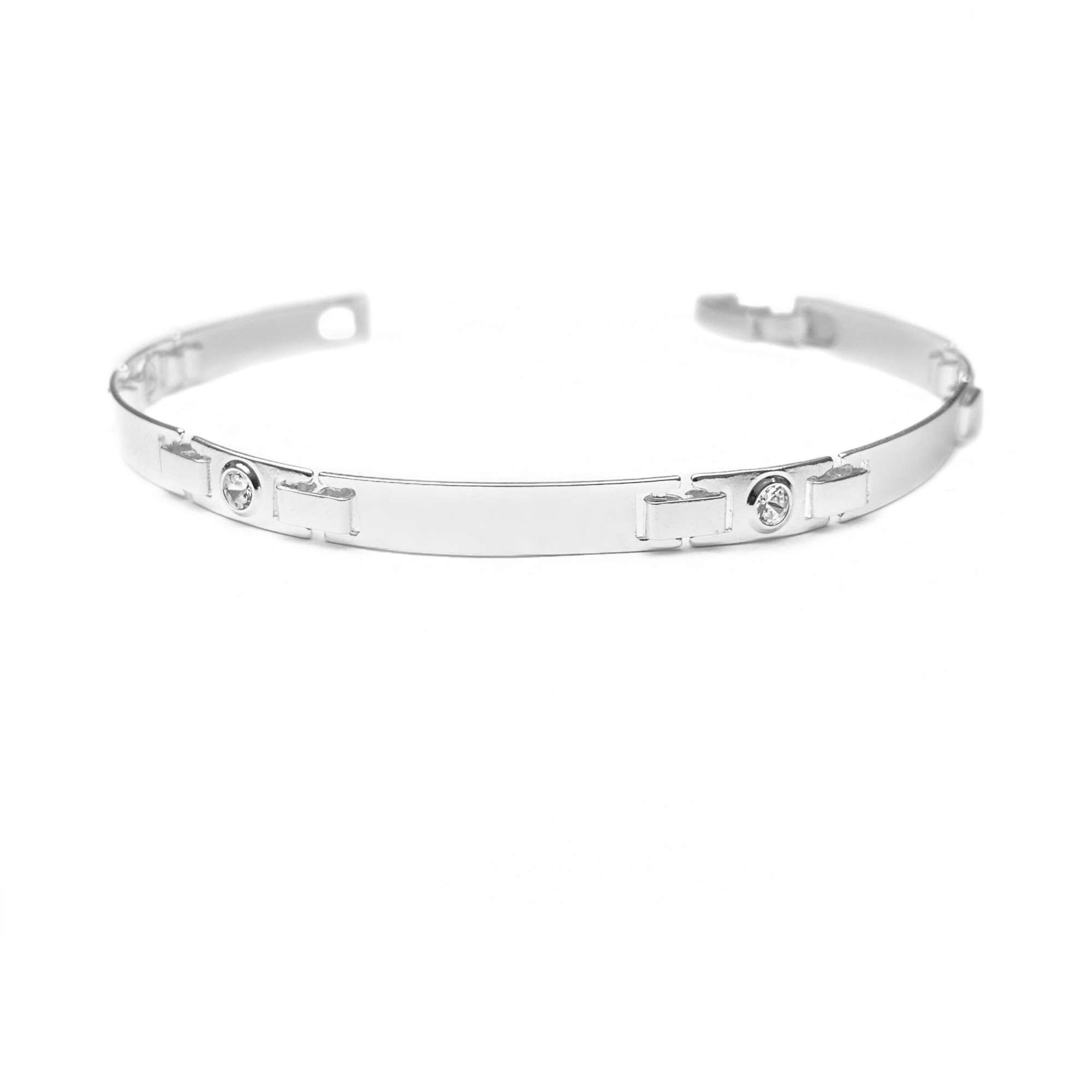 Bracelete Liso Pedra De Zircônia Branca 5mm (Banho De Prata 925)