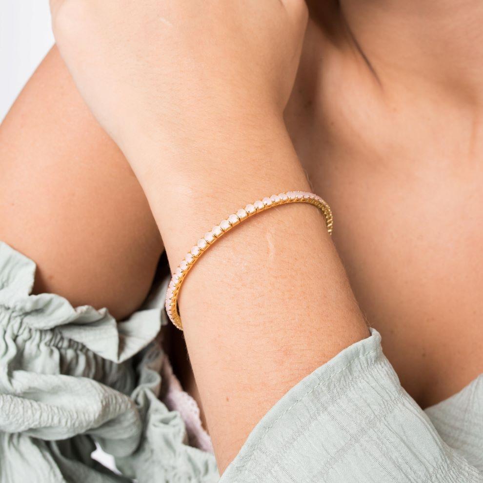 Bracelete Riviera Pedra de Zircônia Rosa (Banho Ouro 24k)
