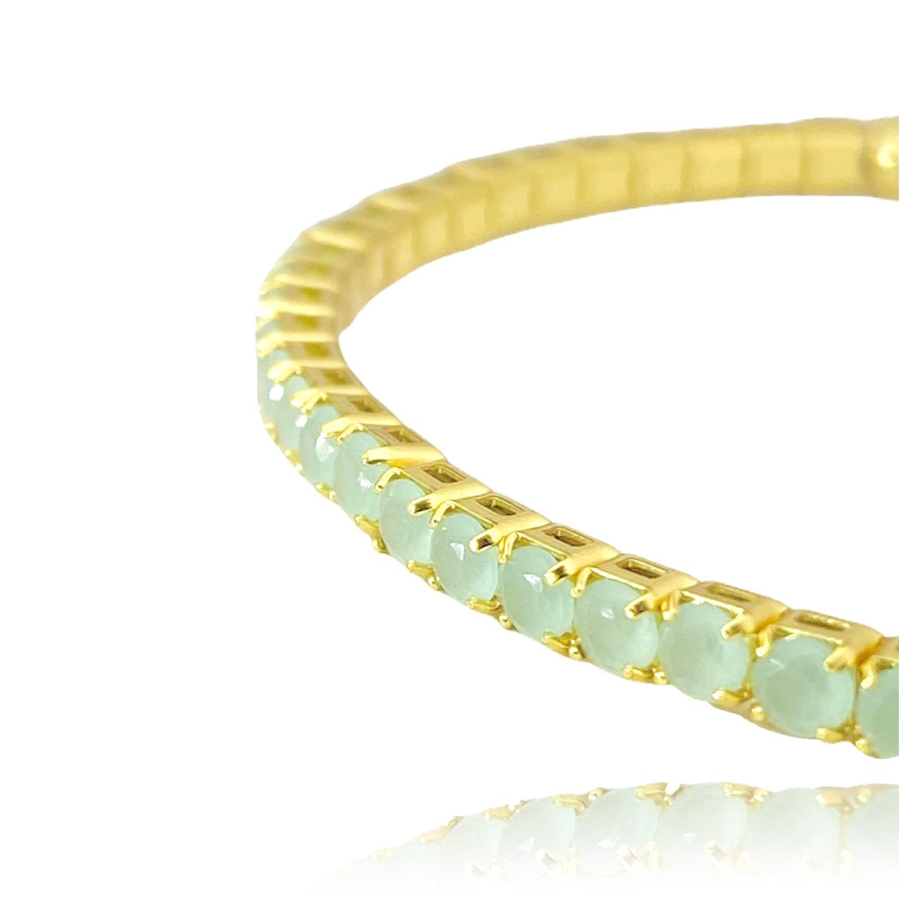 Bracelete Riviera pedra de Zircônia Verde (Banho Ouro 24k)