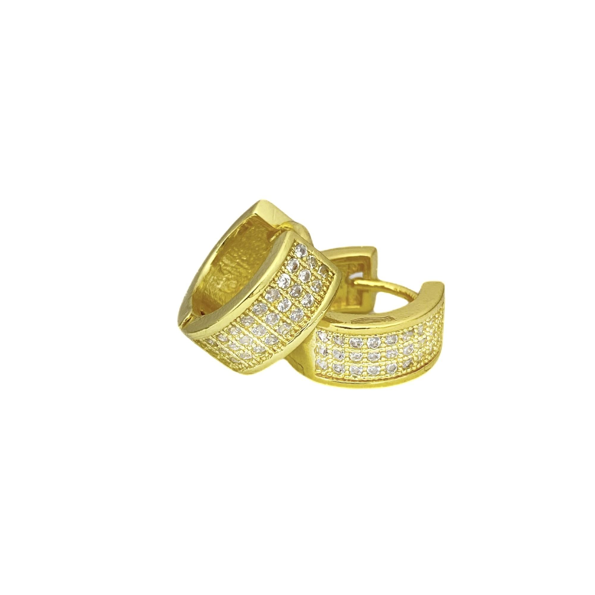 Brinco Argola Chapado Cravejada em Zircônia 30 Pedras (Banho Ouro 24k)