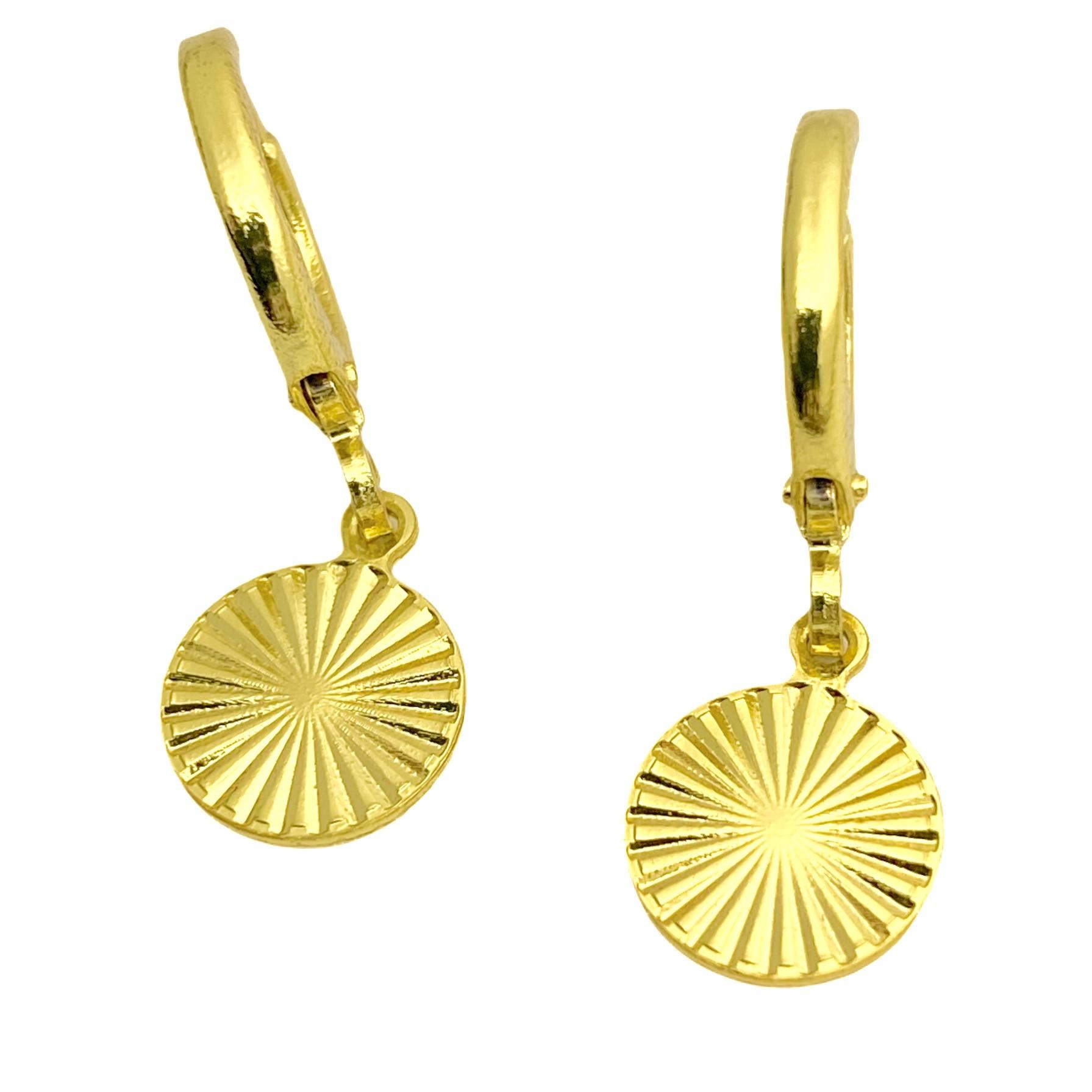 Brinco Argola Circulo Diamantado (Banho Ouro 24K)