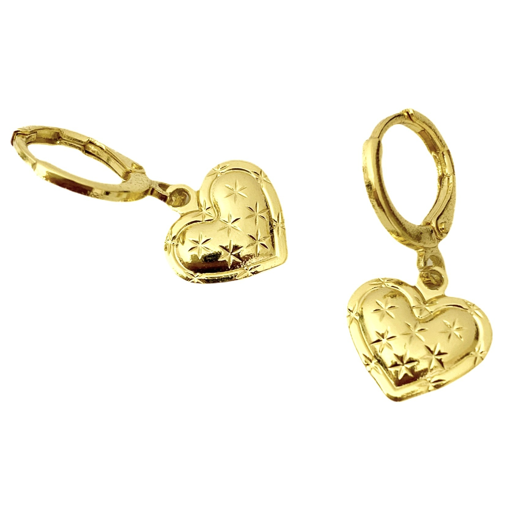 Brinco Argola Coração com Estrelas (Banho Ouro 24k)