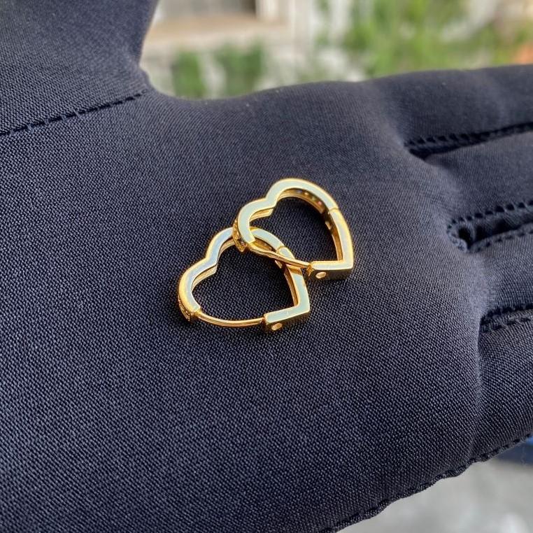 Brinco Argola Coração Cravejado Pedra de Zircônia Colors (Banho Ouro 24k)